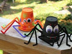 Paper Cup Spiders, Halloween Kids Craft