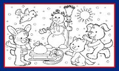 WINTER COLORING PAGE Winter Scene Coloring Page And Song