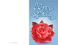 A beautiful red rose blooms against a bold blue background with this classy birthday card.