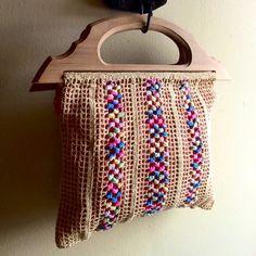 Vintage Purse Clutch Summer Bag Knitting Bag Purse Crocheted Bag Tote Handmade 70's
