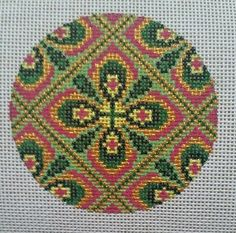 Beautiful-Hand-Painted-HP-Round-Ornament-Needlepoint-Canvas-18-mesh-Geometric