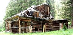 Abandoned log cabin in Kirwin, Wyoming. Kirwin is now a ghost town since the mining industry died out.