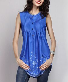 Look what I found on #zulily! Blue Floral Sleeveless Notch Neck Pin-Tuck Tunic #zulilyfinds