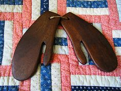 ANTIQUE PAIR OF MITTEN STRETCHERS MOLD DRYERS POSSIBLE SHAKER?  sold 52.00