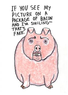 Pro vegan: If you see my picture on a package of bacon and I am smiling. That's fake.