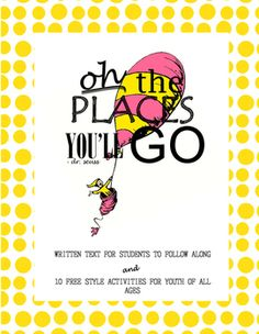 """This contains 17 colorful pages to use along with the Dr. Seuss book, """"Oh, the Places You'll Go"""".  It contains 10 pages of free style educational activities to use with students of all ages.  Teachers as well as school counselors can creatively use this activity booklet to meet their educational needs."""