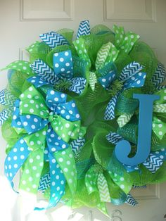 Lime Green and Turquoise Blue Polka Dot Mesh Wreath by TowerDoorDecor, $60.00