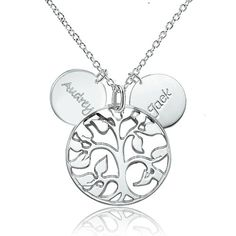 February birthstone crystal flower clusters 925 sterling silver 925 sterling silver family tree engraved couples name custom made any name necklace pendant sterling silver pendant aloadofball Choice Image
