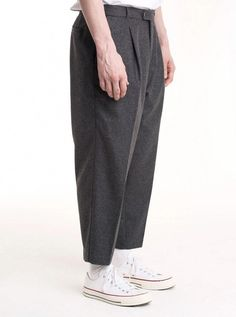 Grey melange Italian wool flannel Mid-rise Pleated front Wide leg pant Carrot fit, low-crotch style Slightly short length Fits true to size Model is and wears 50 More informations in the size chart menu Japan Fashion, Love Fashion, Mens Fashion, Fashion Outfits, Socks Outfit, Grey Trousers, Minimal Fashion, Aesthetic Fashion, Streetwear Fashion
