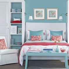 Pale blue room with touches of orange