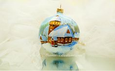 CHRISTMAS ORNAMENT Winter landscape Church by Bettineum on Etsy