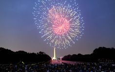 Fireworks illuminate the night sky over the Washington Monument during Fourth of July celebrations in Washington, D.C., in 2012. (Los Angeles Times.)