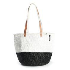 Shoulder bag white and black 50/50 M – Mifuko