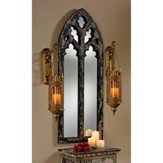 Channel classic architecture with the Design Toscano Gothic Cathedral Arch Mirror - x in. This gorgeous piece was inspired by the windows of medieval Europe and adds a special quality to your interior space. Gothic Room, Gothic Chic, Gothic Home Decor, Gothic House, Gothic Castle, Medieval Home Decor, Medieval Bedroom, Victorian Bedroom, Mirrors