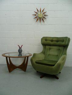 Retro Vintage 60s 70s Parker Knoll Egg Swivel & Tilt Armchair Chair G Plan Era