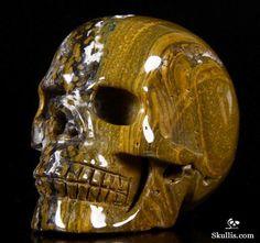 Ocean Jasper Crystal Skull Sculpture Art, Sculptures, Cane Handles, Human Skull, Skull Design, Crystal Skull, Skull And Bones, Gems And Minerals, Skull Art