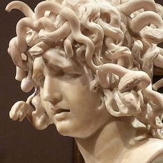 Medusa, sculpted of Carrara marble by Gian Lorenzo Bernini, ca.1638–1648. Photo by Jane Marie Cleveland at SF's Legion of Honor Museum, where it was on loan (2011/12) from Rome's Musei Capitollini | Reptile coiffure :)