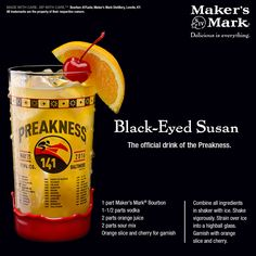 We're gearing up for a big weekend at Pimlico Race Course for the 141st Preakness Stakes. Celebrate wherever you are with the official drink, The Black Eyed Susan.  #Preakness #Pimlico #Baltimore #Bourbon #Cocktail #HorseRacing #BlackEyedSusan