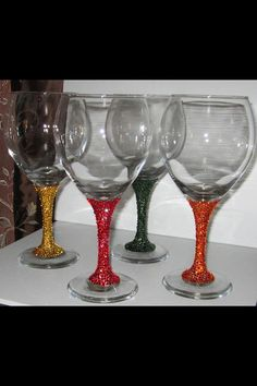 Swarovski Crystal elements wine glasses Made to by 13Crystals, $100.00