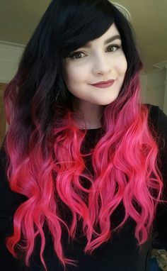 Bright Pink Black Wavy Dip Dye Gradient Cosplay Ombre Lush Wig - Worldwide Tracked Delivery