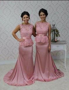 2016 New Mermaid Bateau Sleeveless Floor Length Vestido De Longo Lace Hot  Pink Long Bridesmaid Dresses 3d85a132e658