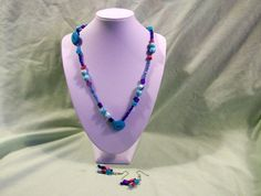 Brand New Handmade Fun Necklace Blue Mother of by BeadCharmers, $12.99  Check it out!!