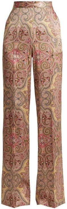 Etro Paisley-print wide-leg stretch-silk trousers