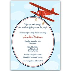 Invite guests to you boy baby shower with this invitation featuring a vintage airplane in green and brown.