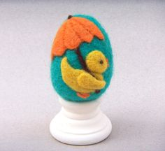 Needle Felted Egg  Rainy Day Duck  Easter Egg by theFeltasaurus, $15.00