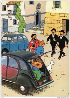 Tintin // woah there. those are some realistic-looking cars Album Tintin, Captain Haddock, Herge Tintin, 2cv6, Wire Fox Terrier, Bd Comics, Car Posters, Beatles, Art For Art Sake