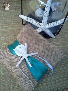 Burlap and Starfish Ring Bearer Pillow, Beach Wedding, Destination Wedding, Nautical wedding ring pillow - Card and gift boxes (*Amazon Partner-Link)