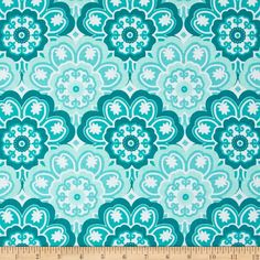 Designed by Tamara Kate for Michael Miller, this cotton print fabric is perfect for quilting, apparel and home decor accents. Colors include white and shades of teal.