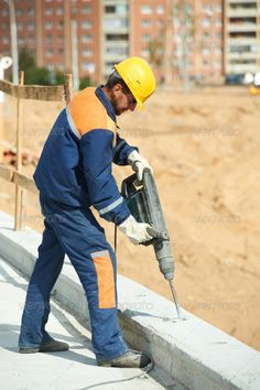 Buy portrait of construction worker with perforator by kadmy on PhotoDune. Portarait of positive Builder worker with pneumatic hammer drill equipment at construction site Hammer Drill, Construction Worker, Author, Poses, Stock Photos, Portrait, Search, Youtube