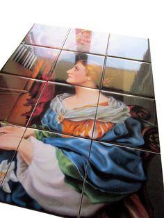 Saint Cecilia religious wall art tile mural mosaic catholic
