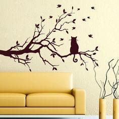 Wall Decals Tree Art Bird Decal Cat Vinyl Sticker for Kitchen Window Nursery Bedroom Room Home Decor Murals Ah91