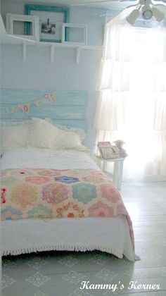 sweet little girls room…DIY headboard painted to patch a cute quilt…white everything else. This would also be easy to change out if you wanted to. sweet little girls room…DIY headboard… Girls Bedroom, Bedroom Decor, Nautical Bedroom, Bedroom Sets, Bleu Pastel, Pastel Pink, Piece A Vivre, Shabby Chic Bedrooms, The Design Files