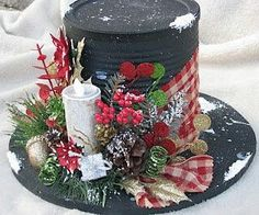 Christmas Tin Can Hat Centerpiece