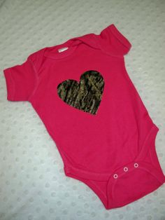 Pink and Camo Baby Girl Bodysuit -  Perfect for Daddy's Little Hunter - Baby Girl Pink Hunting Bodysuit - Hot Pink and Camo Heart Outfit