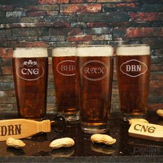 Personalized English Pub Beer Drinking Glasses with Engraved Monogram Designs & Font Selection OPTIONAL Monogrammed Magnetic Bottle Openers by DesignstheLimit #TrendingEtsy