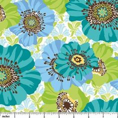 1/2 Yard Picadilly Circle Lg Flowers Teal Blue by fabricfreak43, $4.99