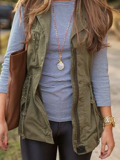 I really really really like this combo of stripes and military style vest.  This is adorable.