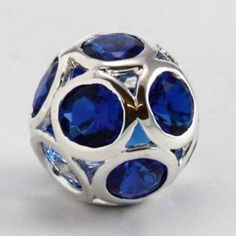 925 Silver and Blue CZ Bead. This is a sphere, a round ball of CZ's, a larger bead than normal. Very pretty. It will fit on any Pandora, Biagi, Zable, Chamillia, Troll or Brighton Bracelet.