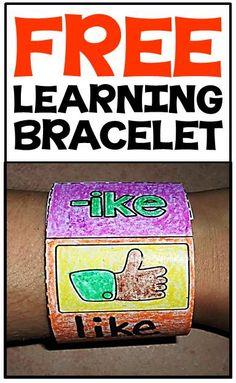 FREE word work learning bracelets for beginning, middle & ending sounds, blends & digraphs & CVC words!
