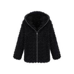 Faux Fur Hooded Long-sleeved Black Coat | Victoriaswing