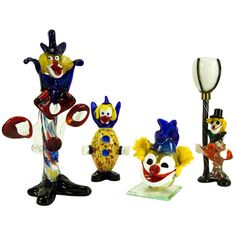Whimsical Murano Glass Clowns Collection | From a unique collection of antique and modern figurines at http://www.1stdibs.com/furniture/dining-entertaining/figurines/