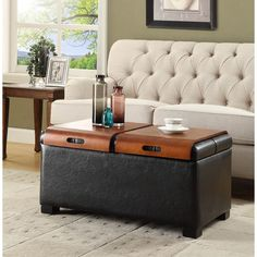 Convenience Concepts Designs4Comfort Storage Ottoman with Trays (