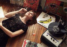 Retro Vintage Modern Hi Fi Hi Fi Girl Retro Girl Vinyl