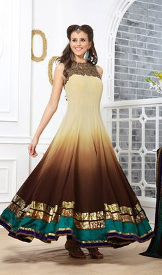 Brown and Cream Flared Georgette Long Anarkali Suit Instill awe-inspiration in this brown and cream flared georgette long Anarkali suit. The amazing attire creates a dramatic canvas with astounding gold zardosi, lace, resham and stones work. #LongAnarkaliSalwarSuits #FancyAnarkaliSuits