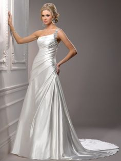 Stylish A-line Sleeveless One-shoulder Sweep Train Satin Beading Wedding Dress