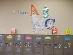 Preschool Dr Seuss Theme ABC Book Room Enhancement (notice lockers are all Dr Seuss characters)